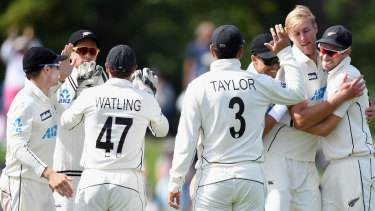 Kyle Jamieson of New Zealand, second from right, is congratulated after dismissing Faheem Ashraf of Pakistan at Hagley Oval in Christchurch.