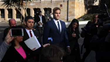 Jack de Belin leaves Wollongong Local Court in July.