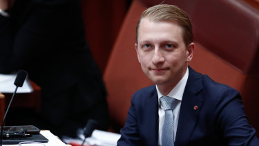 Senator James Paterson during Question TIme in the Senate.