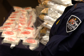 Australian Federal Police display the heroin seized in the Pong Su operation.