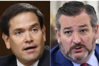 Senators Marco Rubio, left, and Ted Cruz were among 11 people singled out by Beijing.