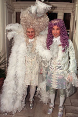 How Elton John celebrated his 50th birthday in 1997, dressed as Louis XVI alongside his partner David Furnish.