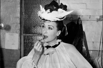 Gypsy Rose Lee in her dressing room at the Palladium on October 3, 1954