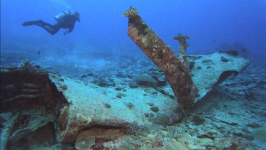 A scuba diver swims near the left wing wreckage of an F4U-4 Corsair fighter aircraft off Sonai, Iriomote Jima, in Japan.