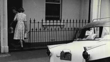 A Meals on Wheels delivery, Sydney, April 20, 1966