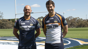 Lachlan McCaffrey and Sam Carter model the Brumbies' 2019 home and away strips.