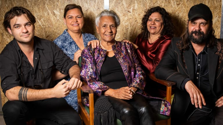 Screen pioneer Freda Glynn flanked by (from left) grandson Dylan River, granddaughter Tanith Glynn-Maloney, daughter Erica Glynn and son Warwick Thornton at the Adelaide Film Festival where she was honoured three times with a new book, a new documentary and the Don Dunstan Award.