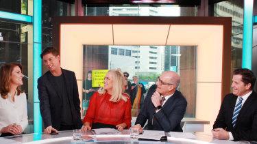 Pell on the Sunrise set with Natalie Barr, Samantha Armytage, David Koch and Ryan Phelan.
