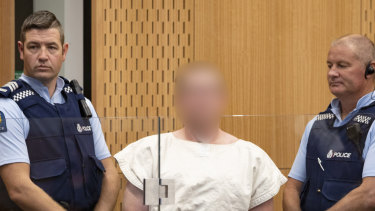 The alleged Christchurch shooter in court on Saturday morning