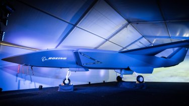 A model of the unmanned Boeing Airpower Teaming System which was unveiled at the Australian International Airshow, Avalon, Victoria on Wednesday.
