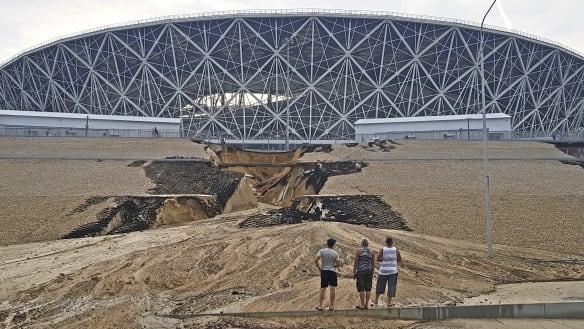 Heavy rain damages Russian World Cup stadium