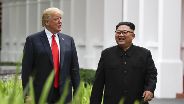 Donald Trump, left, and North Korea leader Kim Jong-un on Sentosa Island in Singapore. Trump said they will meet again in Vietnam later this month.