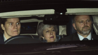 Britain's Prime Minister Theresa May leaves the Houses of Parliament in London.