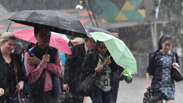 Officer workers caught in the deluge on Wednesday afternoon.