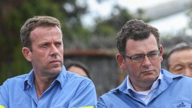 Cracks emerge in the national unity: Federal Education Minister Dan Tehan and Victorian Premier Daniel Andrews.