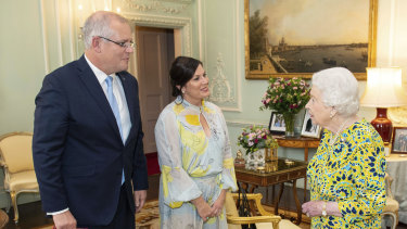 Britain's Queen Elizabeth meets Prime Minister Scott Morrison and his wife Jenny at Buckingham Palace.