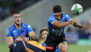 Tomas Cubelli and the Force can't crack the Brumbies' defence.