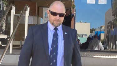 Detective Senior Sergeant Anthony Buxton leaves Toowoomba Magistrates Court on Thursday afternoon.