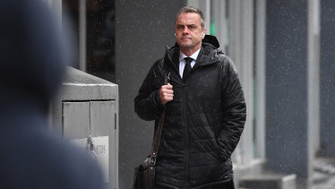 Stuart Bateson arrives at the Magistrates' Court.