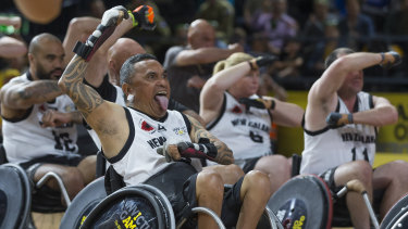 New Zealand players perform the haka before the Wheelchair Rugby event between Australia and New Zealand at the Invictus Games.