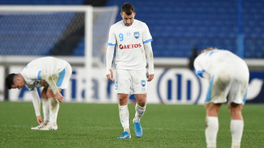 Adam Le Fondre and his teammates look dejected during the AFC Champions League Group H match against Yokohama F.Marinos.