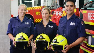 Firefighters Jessica Ford, Primrose Campbell and Matt Smith at the Sydney Central fire station.