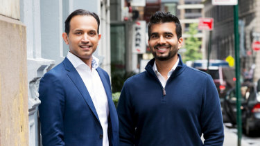 Near founders Anil Mathews and Shobhit Shukla.