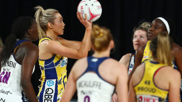 Helen Housby of the Swifts in front of goal against Sunshine Coast Lightning at Nissan Arena.