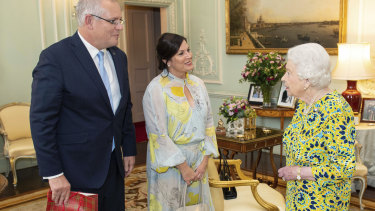 Queen Elizabeth meets Prime Minister Scott Morrison and his wife Jenny at Buckingham Palace.