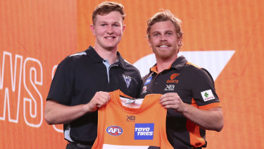 Giant strides: GWS number 10 pick Tom Green (left) poses with new teammate Adam Kennedy.