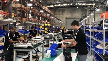 Tritium's electric vehicle charging factory in Brisbane.