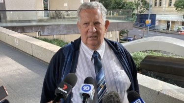 Hunter Nicol, a retired Queensland police officer, outside Brisbane Magistrates Court on Tuesday.