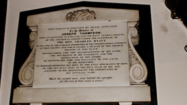 Joseph Thompson's plaque in the Pitt Street Congregational Church.