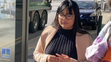Dane Frances De Leon leaves court after receiving her punishment on Thursday.