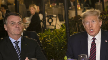 Jair Bolsonaro with Donald Trump at  Mar-a-Lago in March, just before the pandemic changed their fortunes.