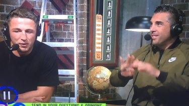 Mates: Anasta with Rabbitohs legend Sam Burgess on Fox Sports.