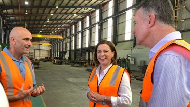 LNP Leader Deb Frecklington and shadow Treasurer Tim Mander (right) tour Watkins Steel in Banyo on Wednesday.