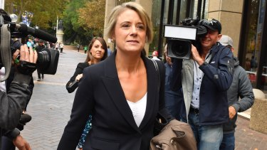 Labor senator Kristina Keneally leaves Federal Court after giving evidence forGreens senator Sarah Hanson-Young who is suing former Liberal Democrats senator David Leyonhjelm for defamation.