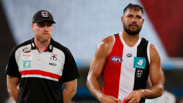 Paddy Ryder with St Kilda's Jarryd Roughead.