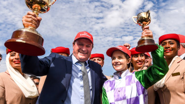 Darren Weir and Michelle Payne after Prince of Penzance won the 2015 Melbourne Cup.
