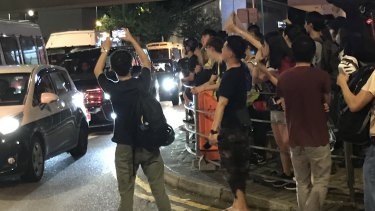 Tung Chung residents protest the police response to Hong Kong pro-democracy demonstrations.