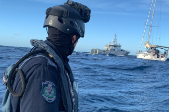 Hundreds of kilograms of drugs was seized on a yacht intercepted off the NSW coast.