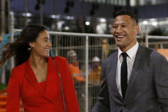 Israel Folau with wife Maria after agreeing to a deal with Rugby Australia in December.