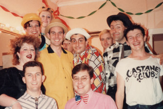 Backstage with the Castanet Club c1984: John Hay is in the front row at far left (striped shirt).