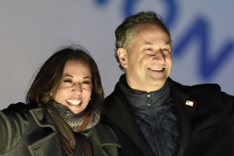 Kamala Harris with her husband Doug Emhoff. He will be the first male spouse of a US president or vice-president.