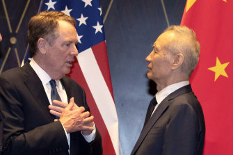 US Trade Representative Robert Lighthizer, pictured with Chinese Vice Premier Liu He in July.