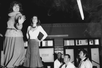 The times were moving fast: Julie McGregor (left) and Catriona Brown were part of the White Horse Players bringing theatre to pubs, such as the Newtown Hotel, in 1976.