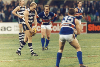 Billy Brownless lines up to kick the match winning goal.
