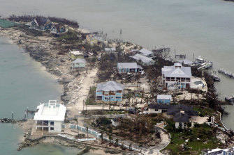 An aerial view of houses in the Bahamas from a Coast Guard helicopter.