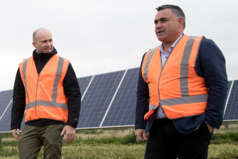 'Delicate dance': Energy Minister Matt Kean with Deputy Premier and NSW National Party leader John Barilaro at a solar farm near Dubbo in June.